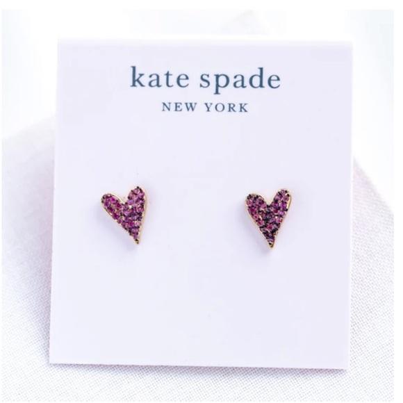 KATE SPADE Pink Gold Stud Sweetheart Earrings
